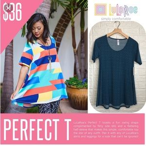 NWT LulaRoe teal geometric Perfect T